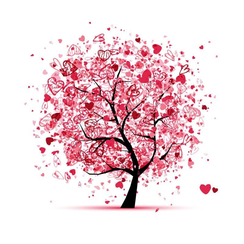 Albero del biglietto di S. Valentino con i cuori per il vostro disegno illustrazione vettoriale