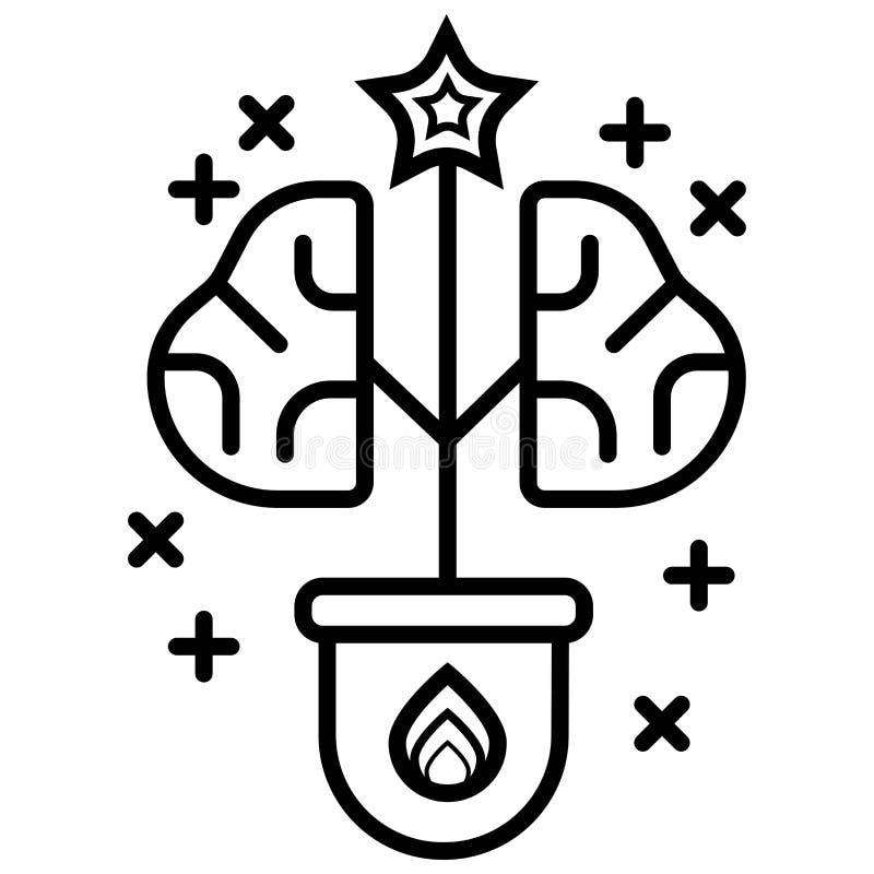 Albero del cervello, albero dell'icona di vettore di conoscenza illustrazione vettoriale