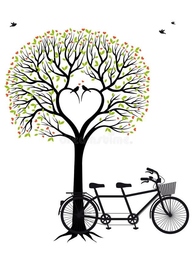 Albero del cuore con gli uccelli e la bicicletta, vettore illustrazione di stock