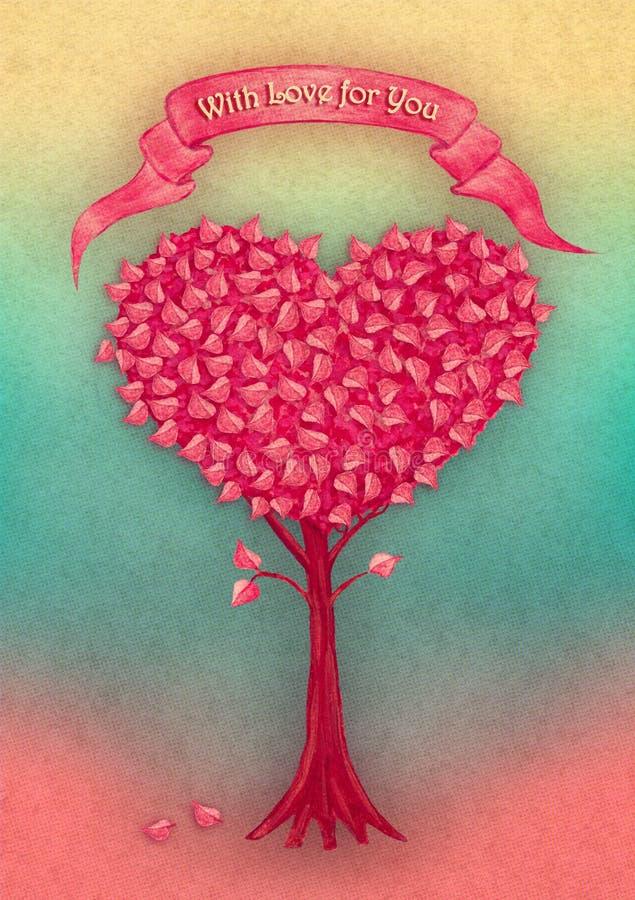 Albero del cuore con il nastro disegnato a mano dalla pittura di gouache Illustrazione di fantasia illustrazione vettoriale