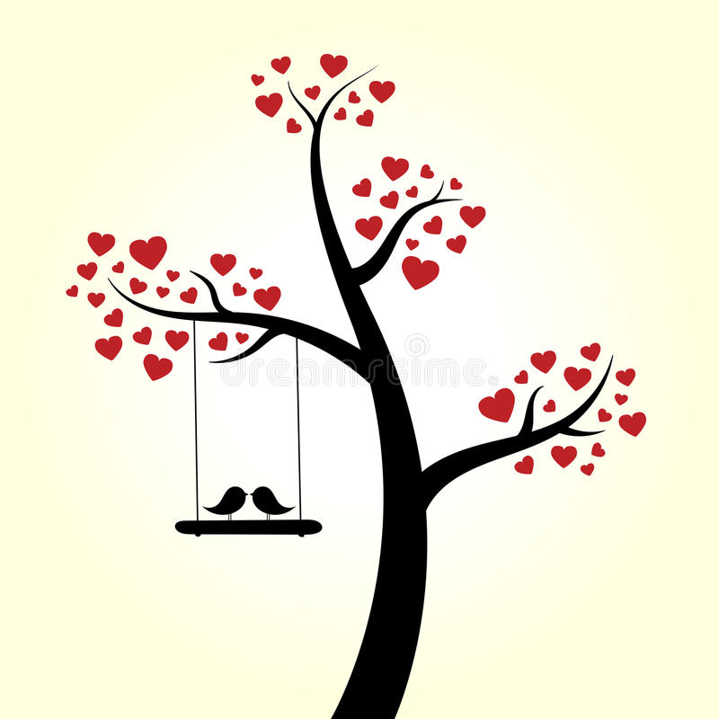 Albero del cuore di amore illustrazione di stock