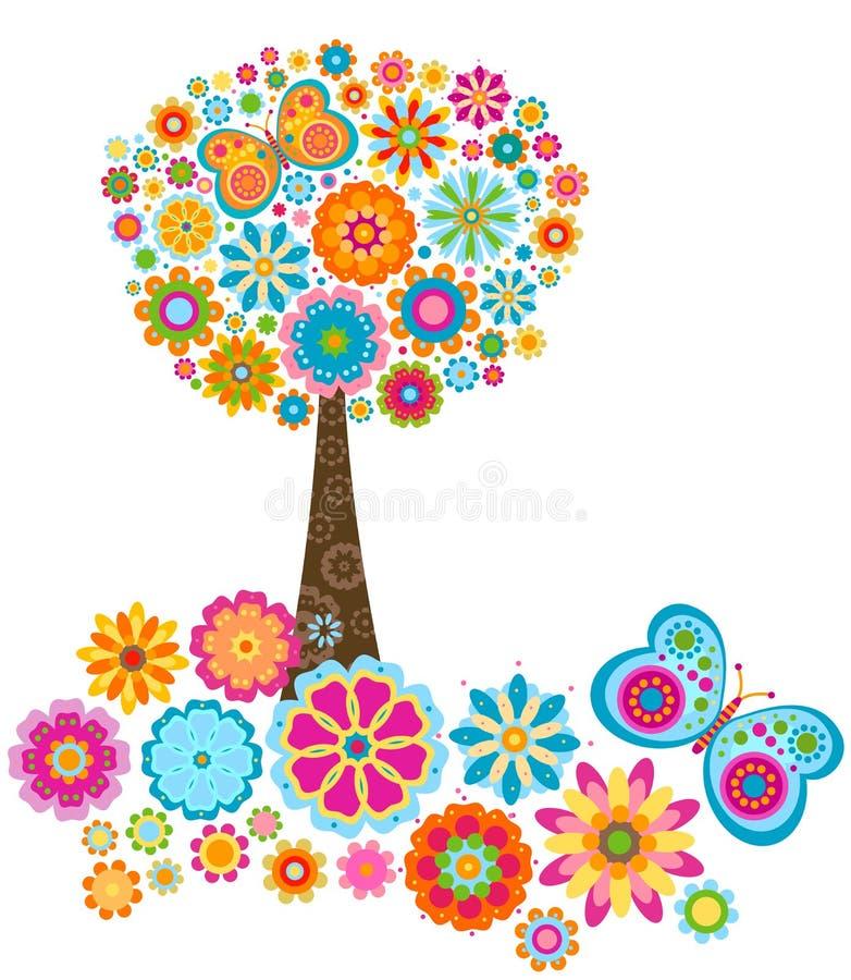 Albero del fiore illustrazione vettoriale