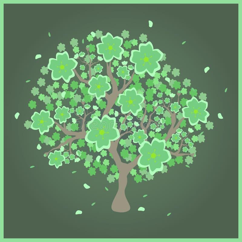 Albero del fiore con i fiori verdi illustrazione vettoriale