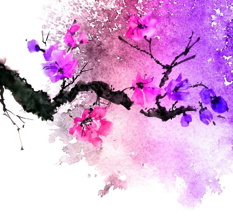 Albero del fiore dell'acquerello con i fiori porpora illustrazione vettoriale