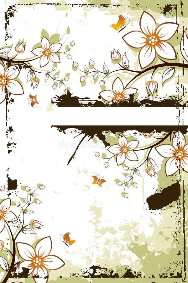 Albero del fiore di Grunge con copyspace royalty illustrazione gratis