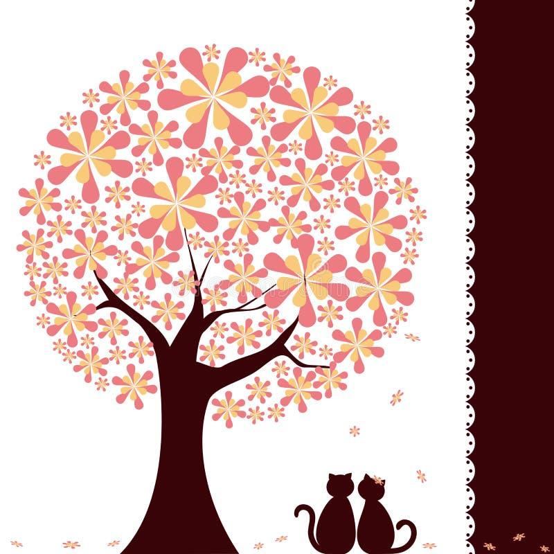 Albero del fiore di primavera con i gatti di amore royalty illustrazione gratis