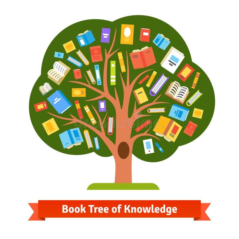 Albero del libro di conoscenza e di lettura illustrazione di stock