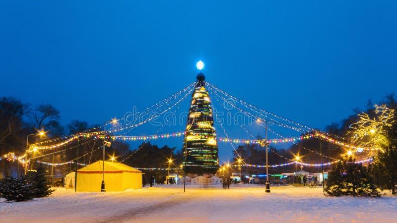 Albero del nuovo anno con illuminazione illuminata nella sera immagini stock