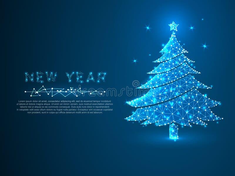 Albero del nuovo anno fatto dalle linee, triangoli, rete di collegamento del punto Concetto del wireframe di festa Basso poli vet royalty illustrazione gratis