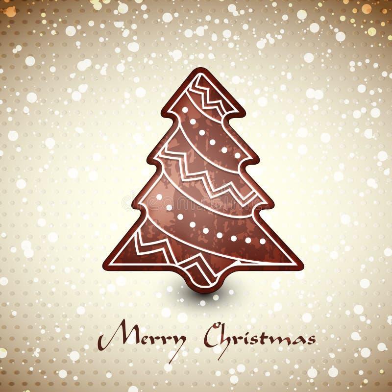 Albero del pan di zenzero del cioccolato del whith della cartolina di Natale royalty illustrazione gratis