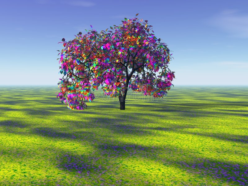 Albero del Rainbow nella distanza royalty illustrazione gratis