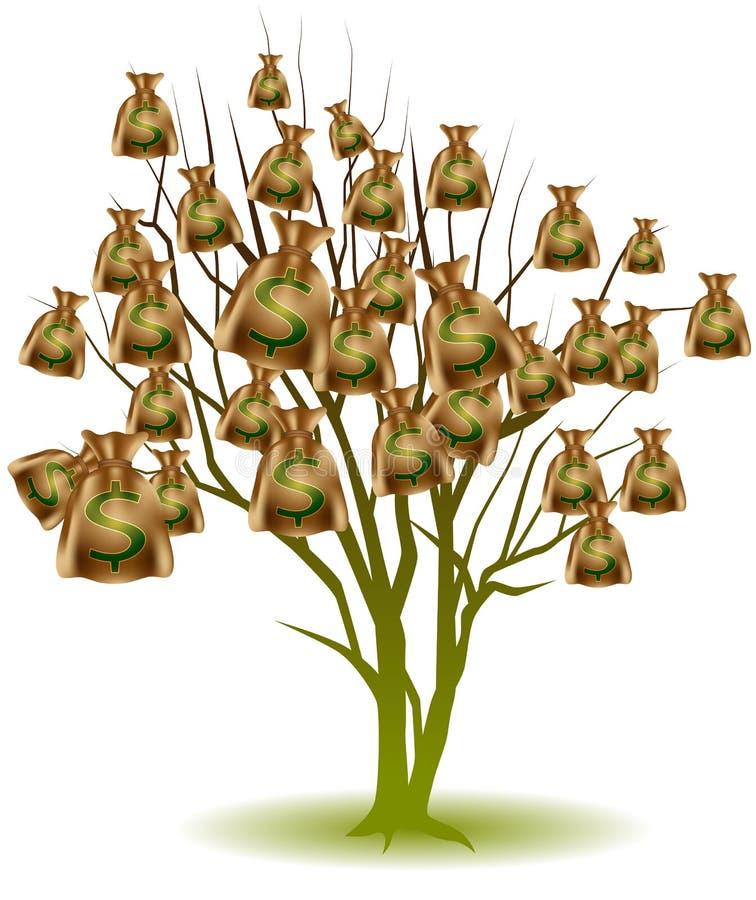 Albero del sacchetto dei soldi illustrazione di stock