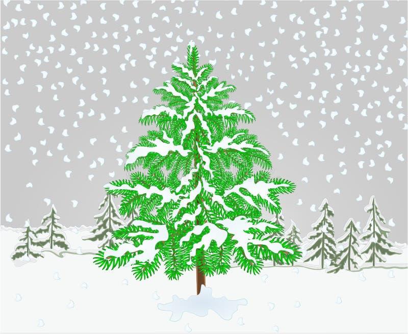 Albero dell'abete rosso del paesaggio di inverno con l'illustrazione d'annata di vettore dello sfondo naturale di tema di natale  illustrazione di stock