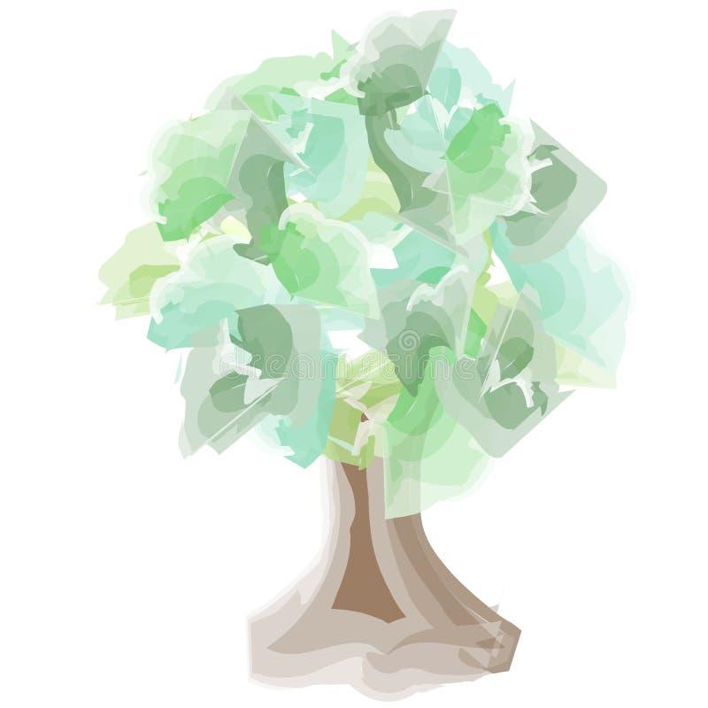 Albero dell'acquerello con il tronco royalty illustrazione gratis