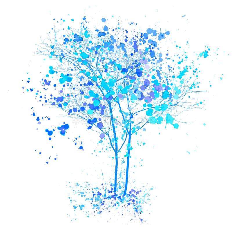 Albero dell'acquerello di inverno Gli alberi blu con spruzza ed illustrazione schizzata inchiostro Concetto dell'albero di invern royalty illustrazione gratis