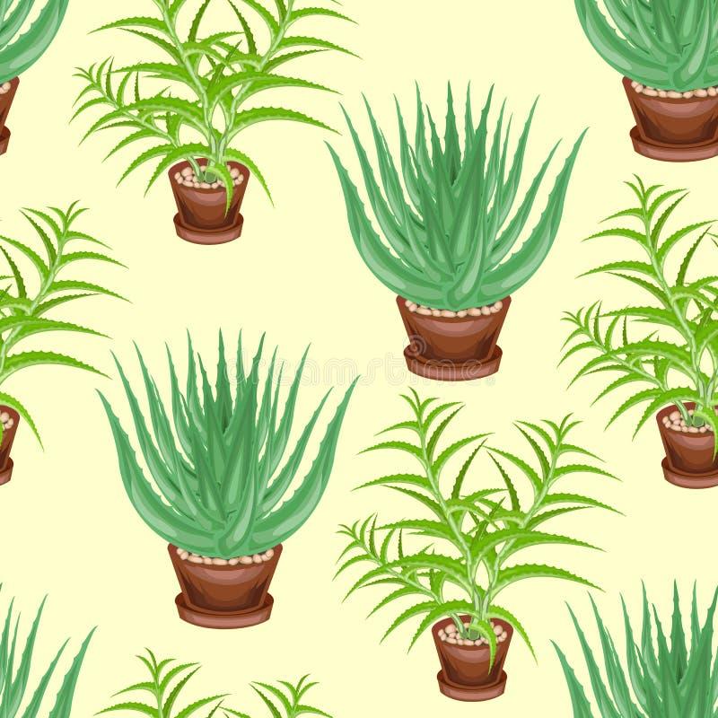 Albero dell'aloe ed aloe vera in vasi su un fondo verde Reticolo senza giunte Adatto a carta da parati e come fondo per il regalo illustrazione di stock