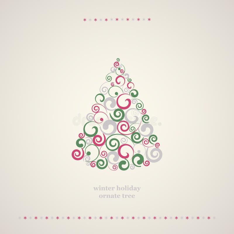 Albero della decorazione di vacanze invernali. illustrazione vettoriale