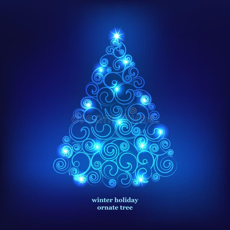 Albero della decorazione di vacanze invernali. illustrazione di stock