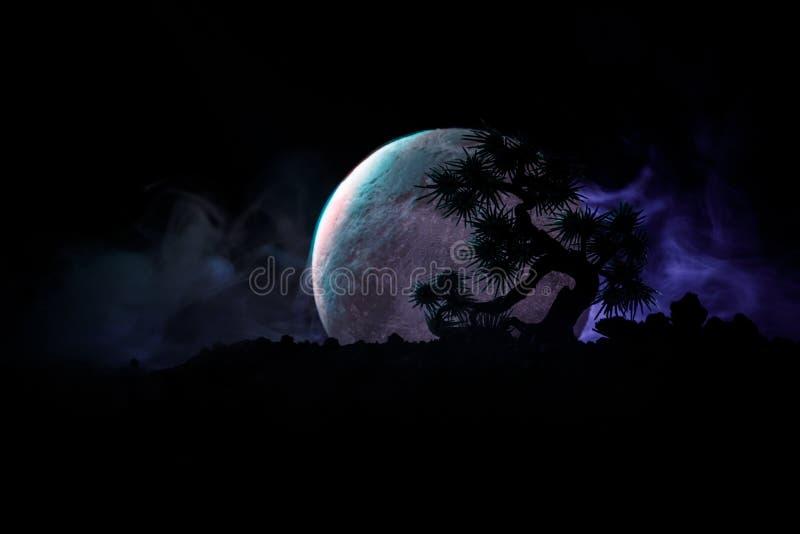 Albero della siluetta sul fondo della luna piena Aumento della luna piena sopra l'albero di stile giapponese contro il cielo nebb illustrazione vettoriale
