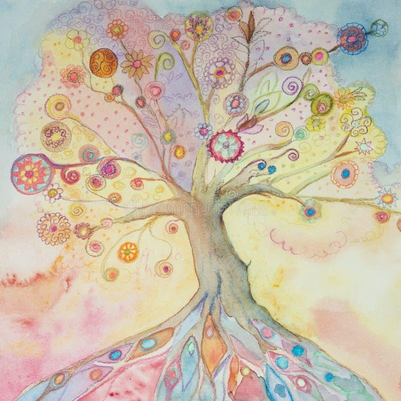 Albero della vita capriccioso con i colori pastelli royalty illustrazione gratis