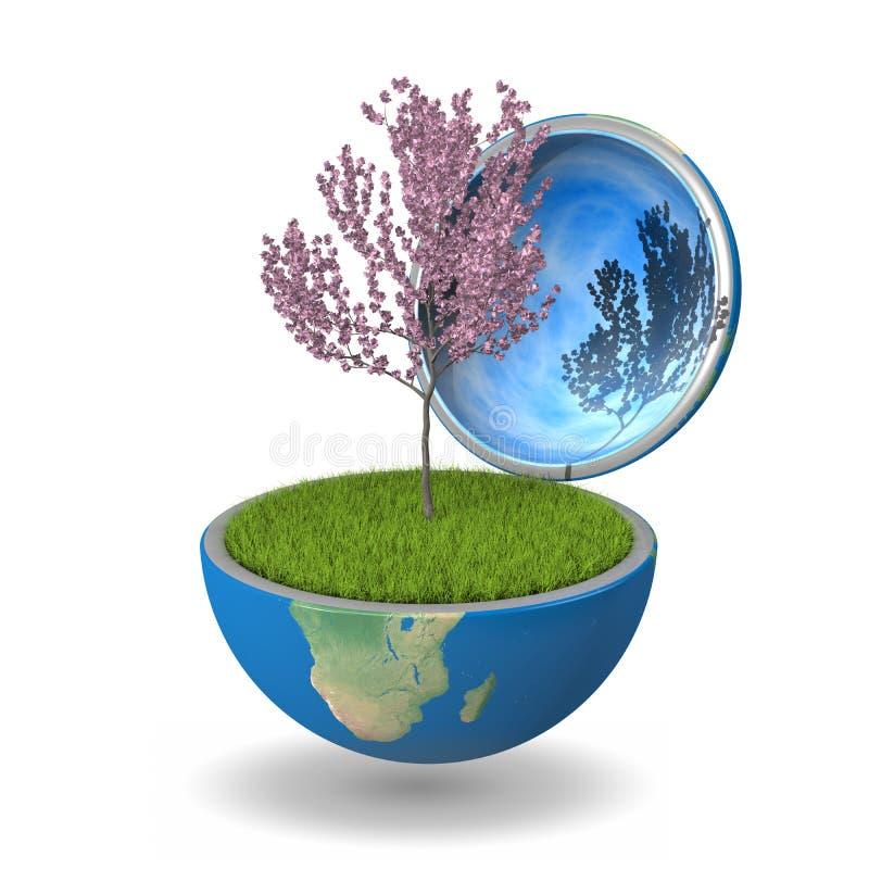 Albero dentro il pianeta illustrazione di stock