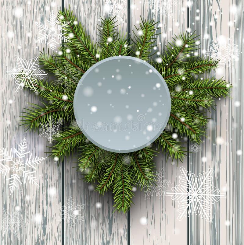 Albero di abete del fondo di Natale sul bordo di legno illustrazione di stock