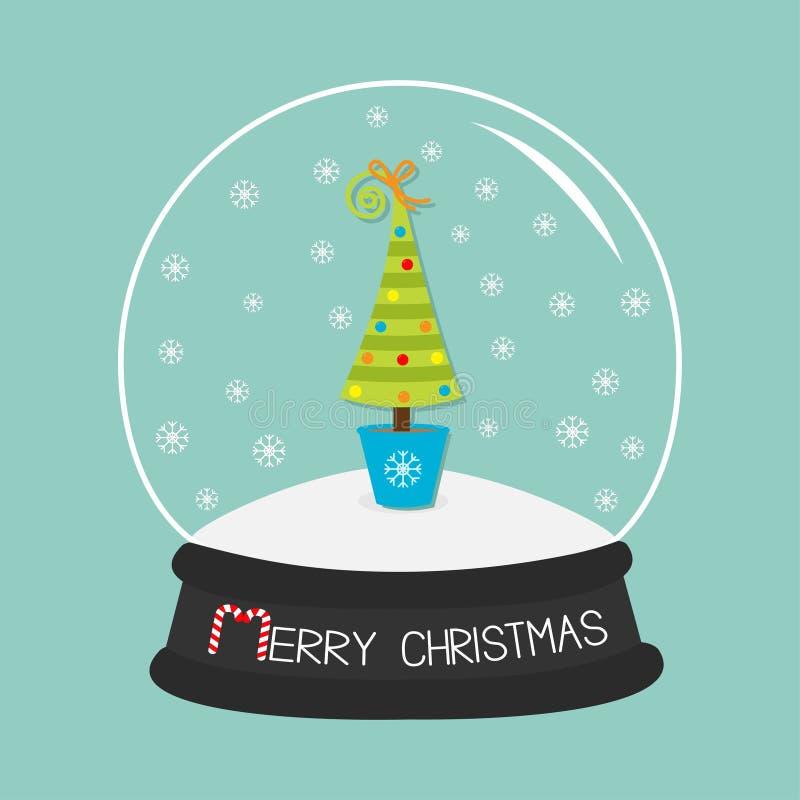 Albero di abete, giocattoli, arco Sfera di cristallo e fiocchi di neve Il Buon Natale carda il fondo piano del blu di progettazio illustrazione di stock