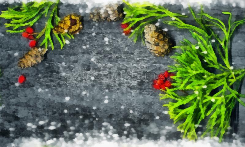 Albero di abete di Natale con la decorazione sul bordo di legno scuro Acquerello, royalty illustrazione gratis