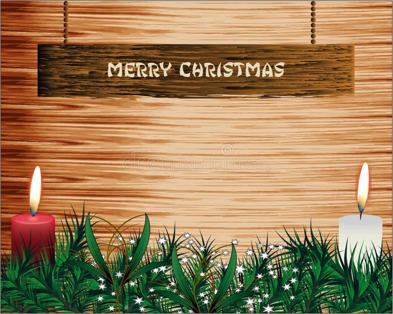 Albero di abete di Natale con la decorazione sul bordo di legno Testo luminoso di Buon Natale royalty illustrazione gratis