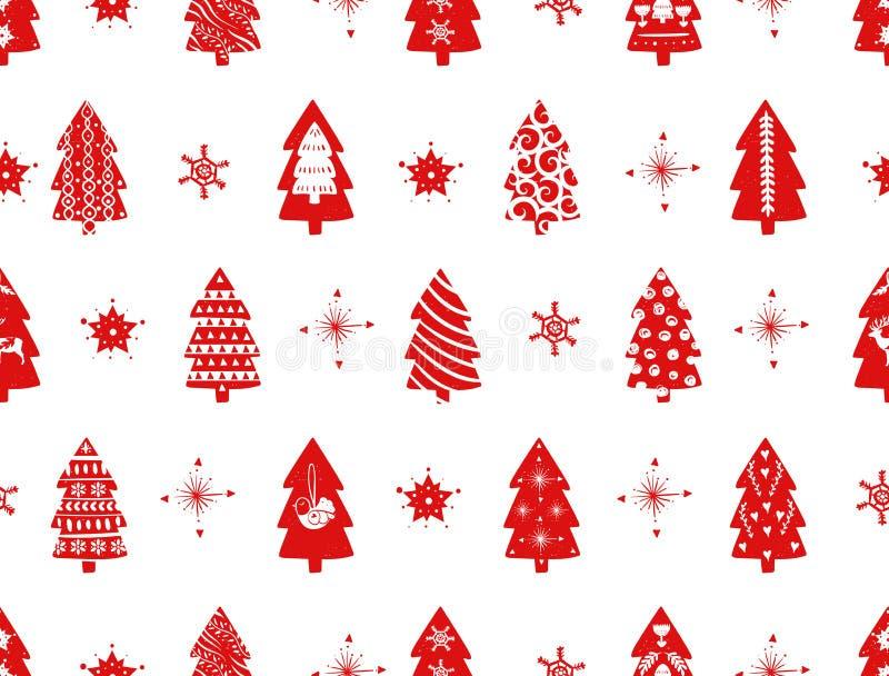 Albero di abete semplice rosso di Natale per stile nordico scandinavo di celebrazioni di festa Natale, decorazioni del nuovo anno illustrazione di stock