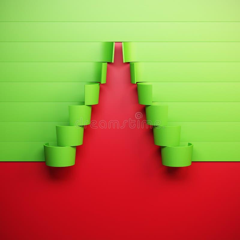 albero di abete simbolico del nuovo anno 3d illustrazione vettoriale