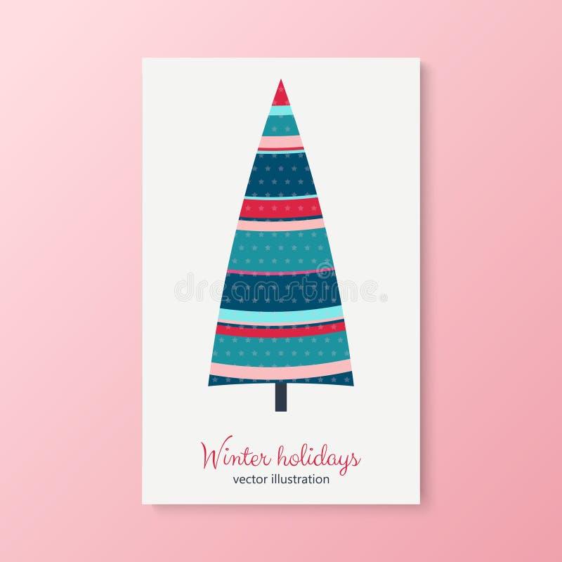 Albero di abete variopinto di vacanze invernali con le stelle royalty illustrazione gratis