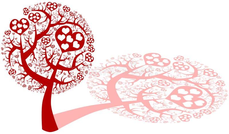 Albero di amore con i cuori illustrazione vettoriale