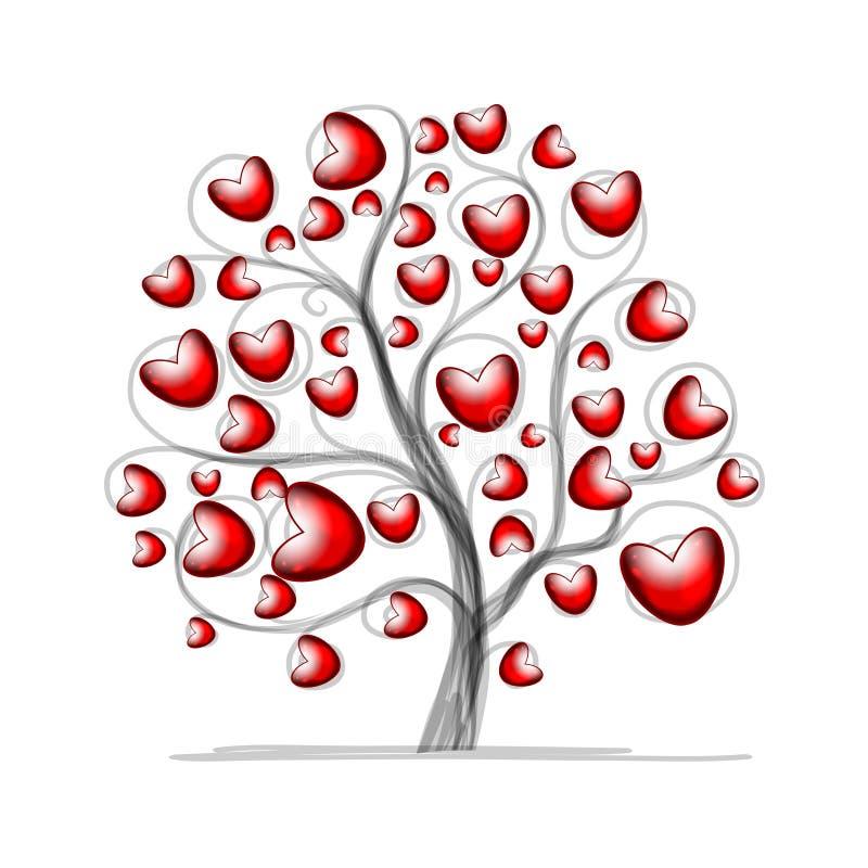 Albero di amore con i cuori per la vostra progettazione illustrazione vettoriale