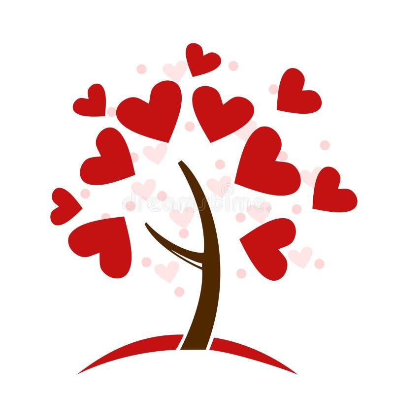 Albero di amore stilizzato fatto dei cuori illustrazione vettoriale