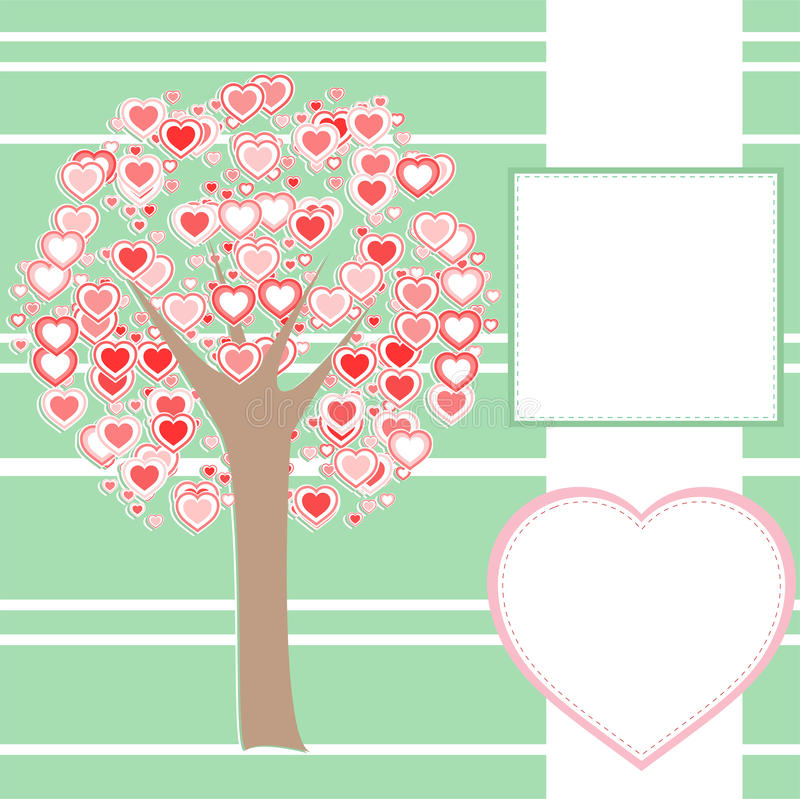 Albero di amore stilizzato fatto dei cuori con un messaggio illustrazione di stock