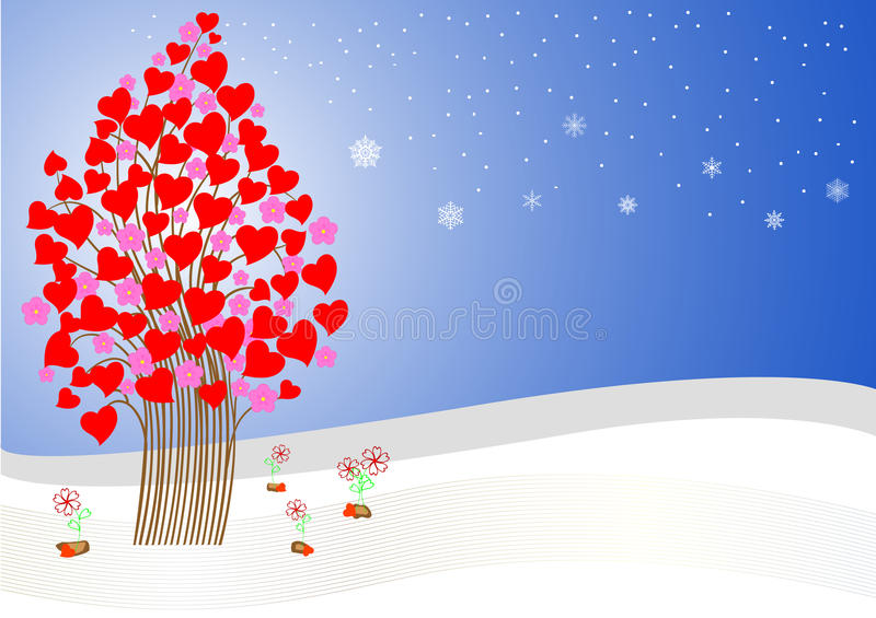 Albero di amore stilizzato. vettore. illustrazione di stock