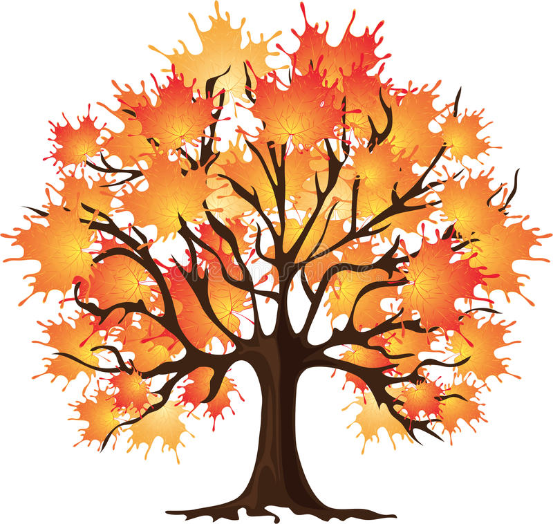 Albero di autunno di arte. Acero. Illustrazione di vettore. illustrazione di stock