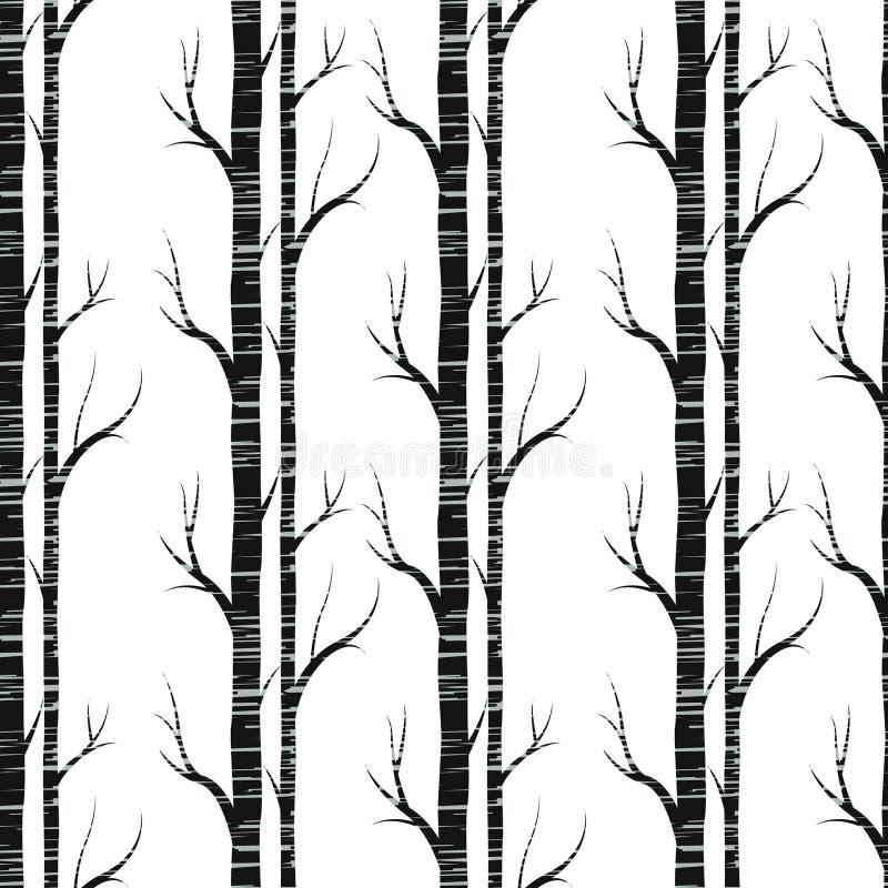 Albero di betulla Reticolo senza giunte Vettore elemento per le carte da parati, fondo del sito Web, invito della doccia di bambi illustrazione di stock