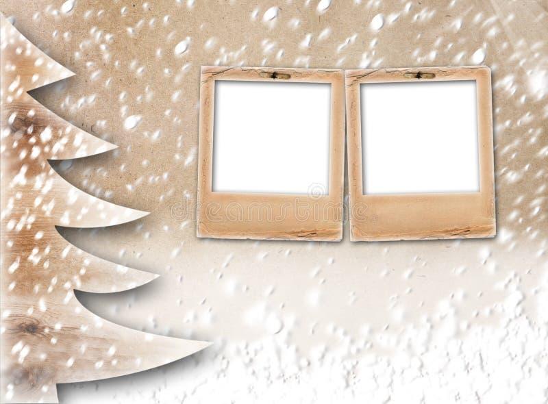 Albero di carta di Natale su fondo astratto innevato illustrazione vettoriale