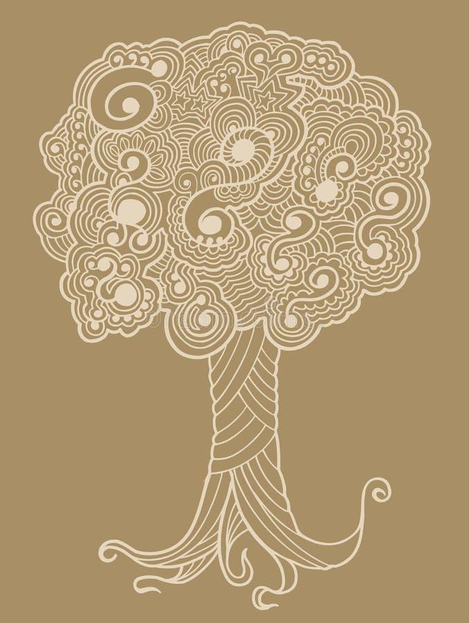 Albero di doodle del hennè di abbozzo royalty illustrazione gratis