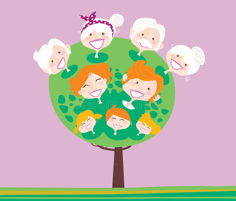 Albero di famiglia triplice della generazione illustrazione di stock