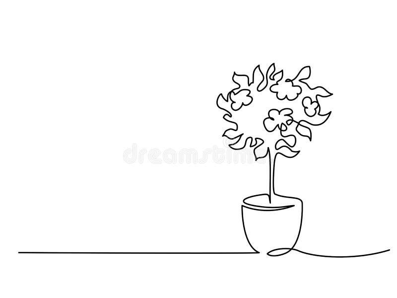 Albero di fioritura in disegno a tratteggio continuo del vaso un illustrazione vettoriale