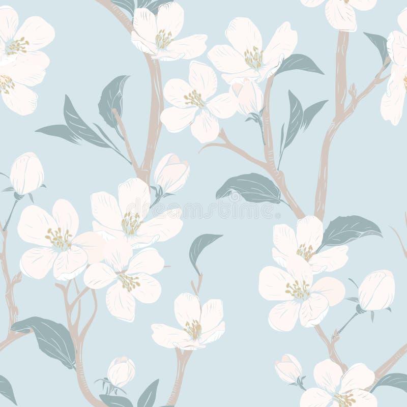 albero di fioritura Reticolo senza giunte con i fiori Struttura floreale della primavera Illustrazione botanica disegnata a mano  illustrazione vettoriale