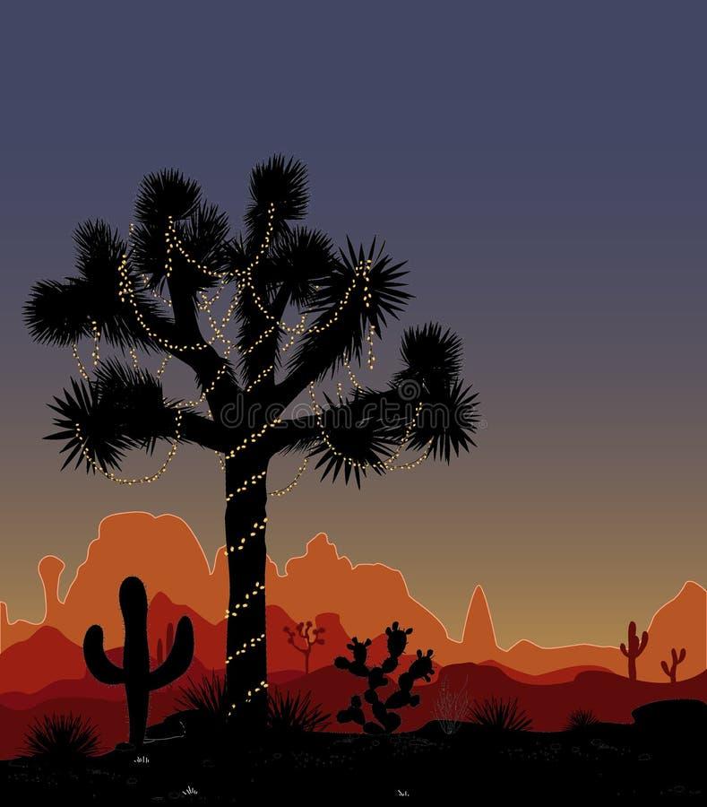 Albero di Joshua decorato con una serie di luci Mountaind, cactil decorato, luci di Natale e cielo notturno Il Messico nuovo illustrazione vettoriale