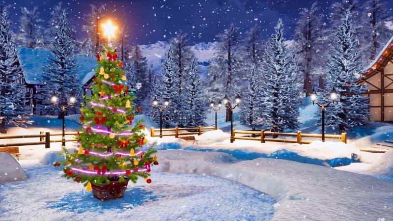 Albero di Natale all'aperto alla notte di inverno delle precipitazioni nevose immagini stock libere da diritti
