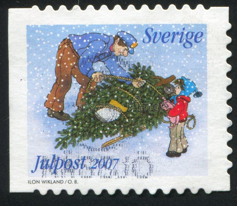Albero di Natale alla slitta immagine stock libera da diritti