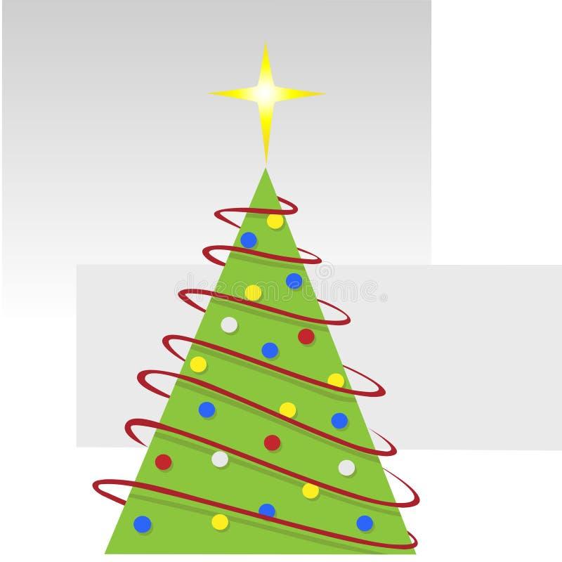Albero di Natale allegro astratto con le ghirlande rosse illustrazione vettoriale