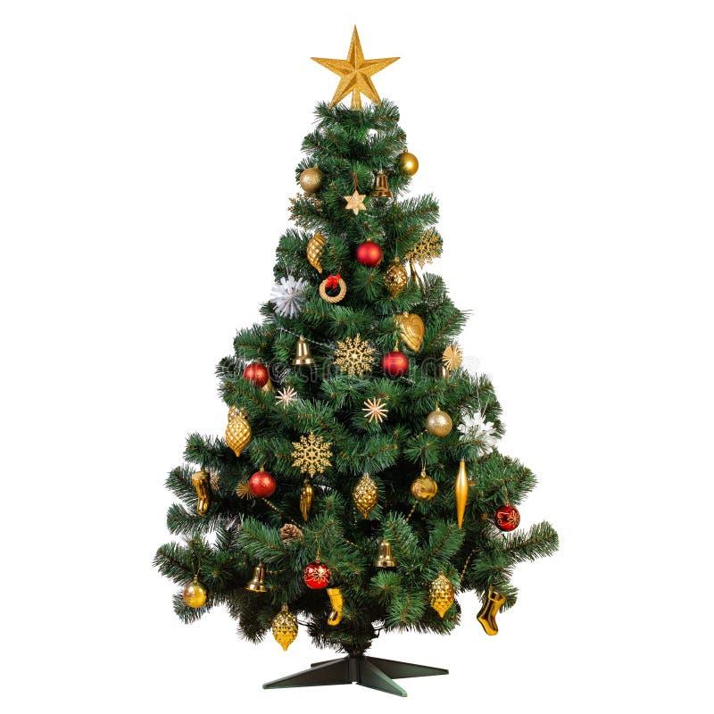 Albero di Natale artificiale con bello decorat d'annata classico fotografia stock libera da diritti
