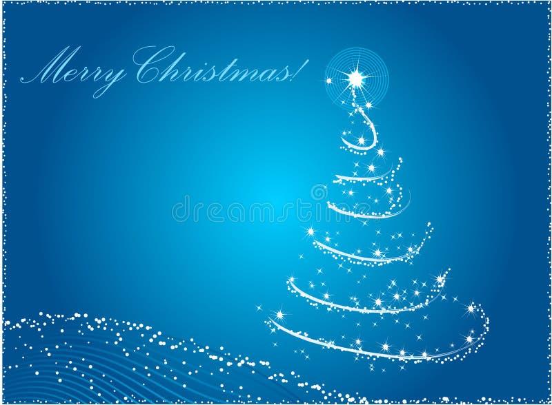 Albero di Natale astratto blu illustrazione vettoriale